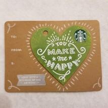 Starbucks 2016 You Make Me Happy Green White Heart Die Cut Gift Card No ... - $8.00