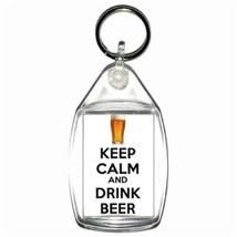 keep calm and drink beer  keyring  handmade in uk from uk made parts, keyring, k