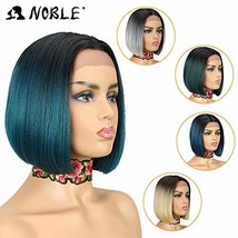 NOBLE Ombre BOB Wig Lace Front Synthetic Wig Middle Part Colorful BOB Ha... - $33.49