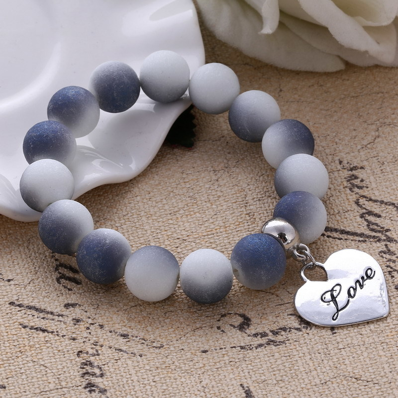 Primary image for Colorful Beads Charms Bracelets For Women and Men Jewelry Heart Pendant