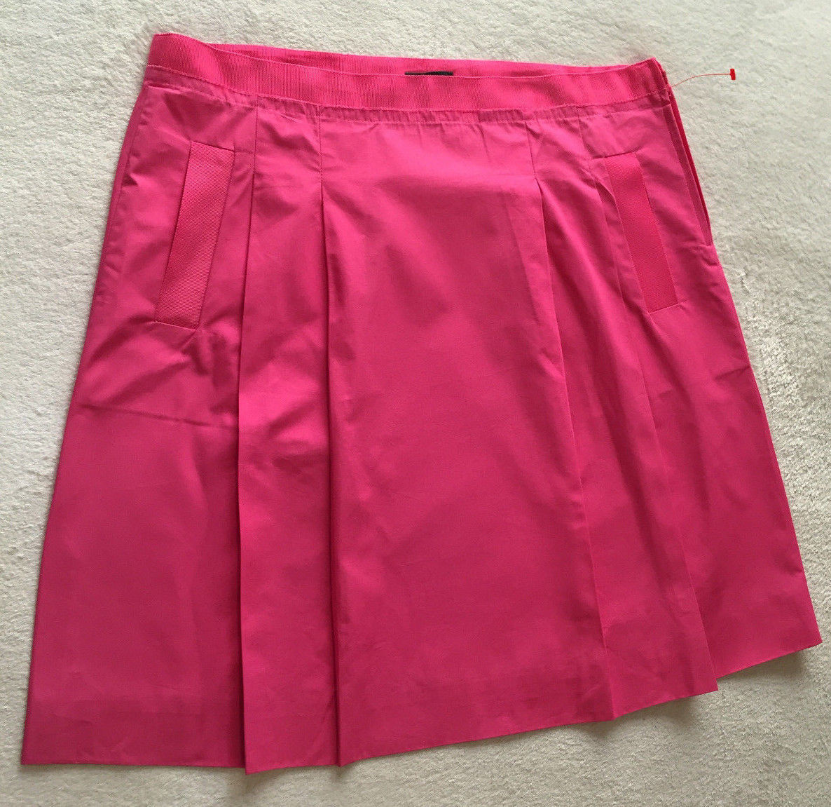 Primary image for NEW J.CREW Women Office Career Fuschia Pink 100% Cotton Pocket Pleats Skirt Sz 8