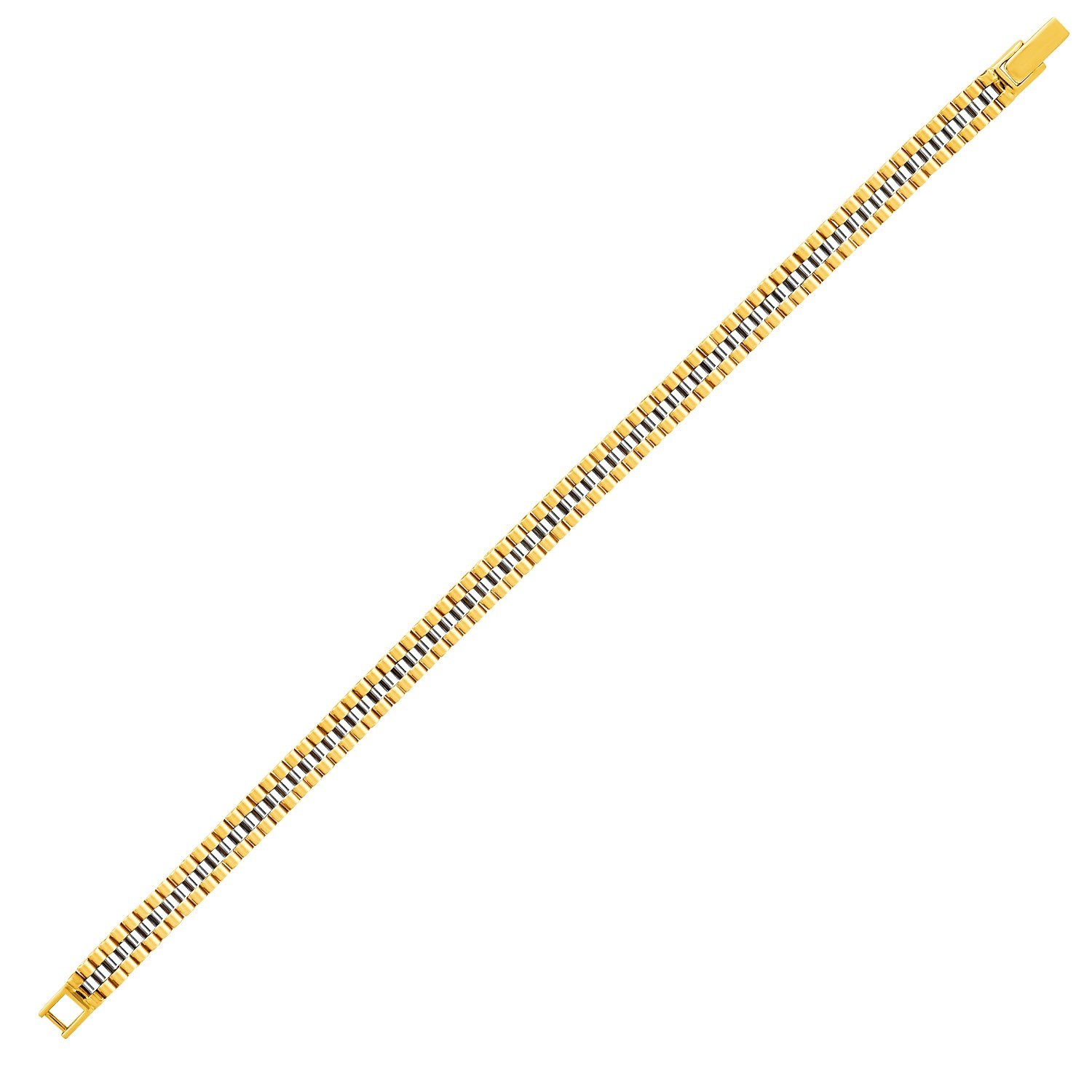 14k Two-Toned Yellow and White Gold Panther Link Bracelet Top Quality Jewelry