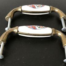 Vintage Ceramic Brass Drawer Pulls Handles Asian Japanese Art Set of 2 image 4
