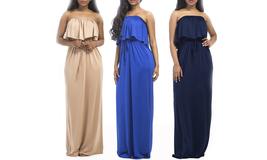 Women's Plus Size Summer Off Shoulder Maxi Dress - $35.99