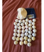 36 Recycled Golf Balls in mesh bag plus a bag of 90+ tees - $30.00