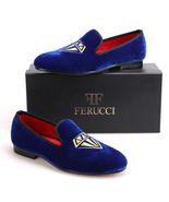 Men FERUCCI Diamond  Royal Blue handmade Velvet Slippers Loafers - $139.99