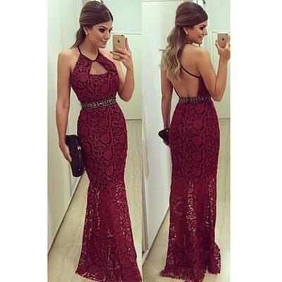 burgundy Prom Dress,long Prom Dress,lace Prom dress,prom Dress,evening dresses
