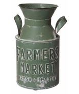 "Rustic Farmhouse Style ""Farmers Market"" Green Metal Milk Jug Decor Flowe... - $49.95"