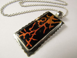 """LARGE Solid Sterling Silver Modernist Painted Pendant 18"""" Necklace 31.3 ... - $55.44"""