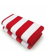 Kaufman - 32in x 62in Velour - Joey Cabana Stripe Towel Set 2, RED - $25.20