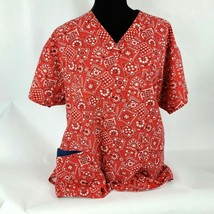 Dickies Womens Scrub Top Sz XL Red Handkerchief Print Short Sleeve Medical  - $21.76