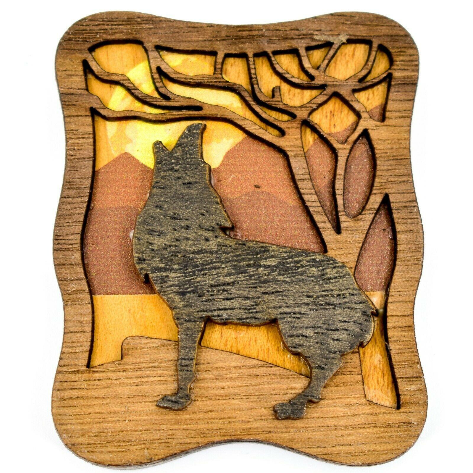 Northwoods Layered Wood Howling Wolf Habitat Rustic Refrigerator Magnet