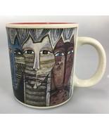 Laurel Burch Wine Things Feline Cat Faces Coffee Mug Cup Red Inside 12 o... - $24.50