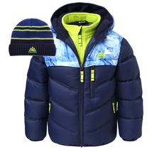 Snozu Kids Toddler Hooded Quilted Jacket with Knit Hat Blue/Black - $32.17