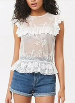 Forever 21 Sheer Mesh Ruffle Floral Crochet Embroidered Top White S NEW - $19.79