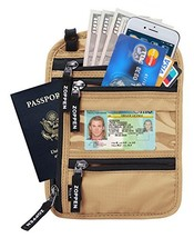 Zoppen RFID -Blocking Travel Passport holder Neck Stash Ultra Slim Walle... - $10.22