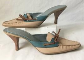 Womens Company Ellen Tracy Loafer Pumps Heels Blush Pink Blue Size 8.5 B - $18.95
