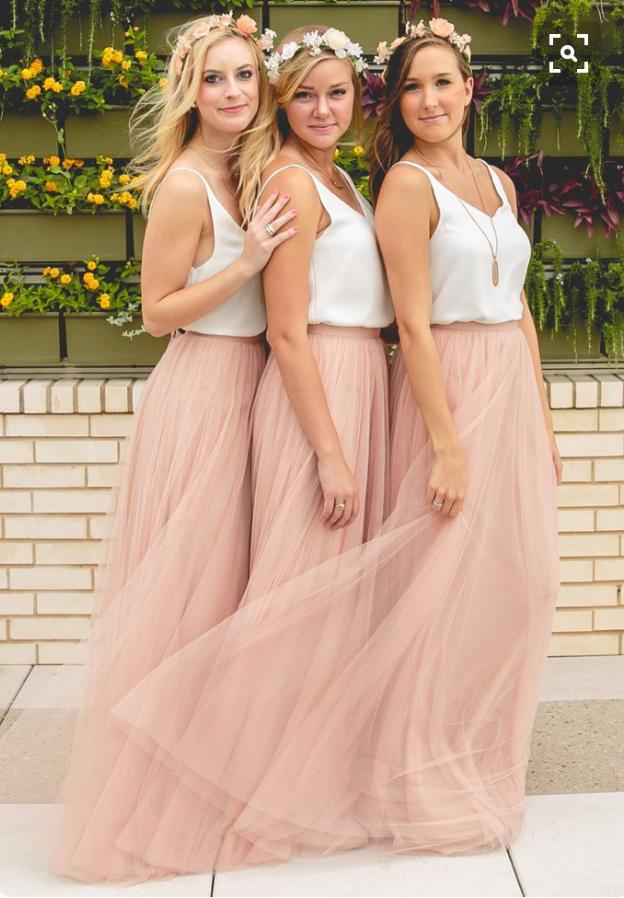 Blush High Waist Maxi Tulle Skirt Full Length Blush Wedding Bridesmaid Skirt NWT