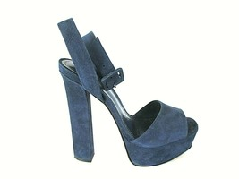 Schutz Blue Suede Leather Ankle Strap Platform Heels Shoes Women's 6.5 (... - $134.99