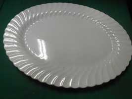 "Johnson Bros.England Ironstone Snow White Regency Swirl Platter 13.75""x10.5"" - $29.29"
