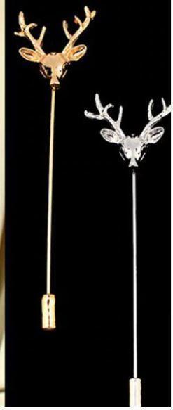 Simple Retro Deer Head Christmas Brooch Pin Women Men Suit Animal Collar Pin