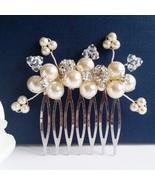 Flower Bouquet Hair Comb - Swarovski Pearl Bridal Accessory - $29.00+