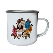 Sugar Skull with Roses Funny Novelty New Retro,Tin, Enamel 10oz Mug hh19e - $13.13