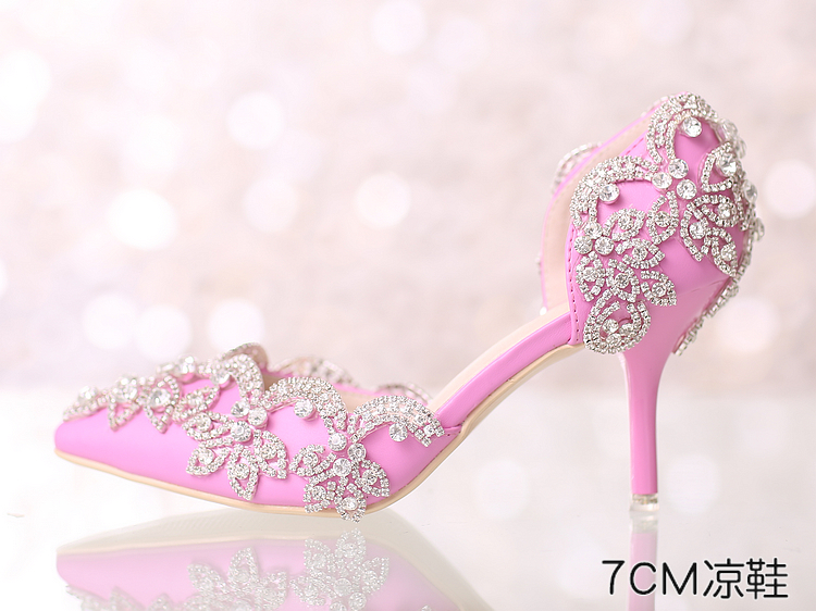 Pink Wedding Shoes Low Heel: Women Blush Pink Swarovski Wedding Sandal Shoe,Bridal Low