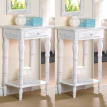 2 Nightstand Bedside End Tables Carved Legs White Table Set - $125.73