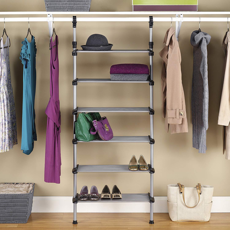 Closet Organizer Systems Shoes Organization White Rack Wall Shelving Adjustable