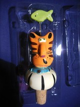 Ceramic Hand Painted Tabby Cat Wine Stopper with Green Fish Wire Whisker... - $8.90