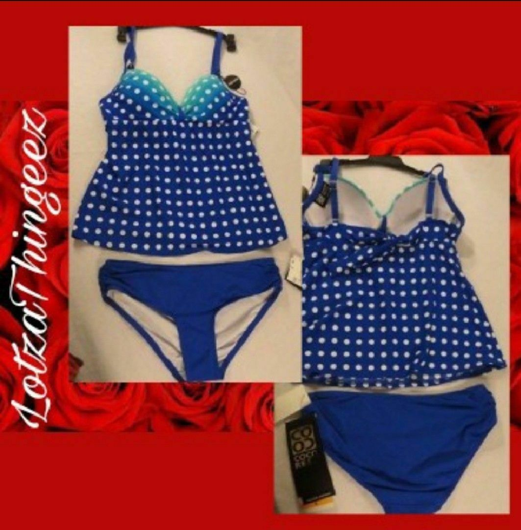 Coco Reef Divine Power OCEAN Blue Polka Dot Tankini Top Only 32C 34C New $79