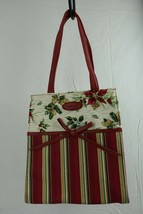"Longaberger Holiday Gift Bag Red Green 8"" x 9"" x 4"" - $12.86"