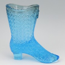 Gillinder Sons 1885 Fine Cut Cane EAPG Glass Blue Victorian Boot image 2