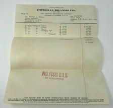 Imperial Brands 1950 Chicago Billhead Letterhead Vintage Valumins Vitamins - $9.79