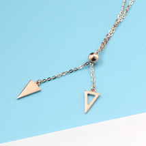 18k Rose Gold Professional Women Pendant Necklace Triangle Sweater Chain image 4