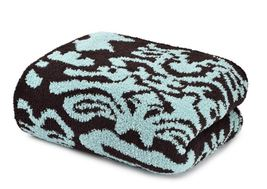 Kashwere Damask Tender Blue and Chocolate Brown Throw Blanket - $175.00