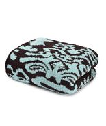 Kashwere Damask Tender Blue and Chocolate Brown Throw Blanket - $175.00