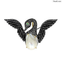 SWAN Brooch Pendant 14k Gold Natural 2.44ct Diamond Pave Sterling Silver... - $811.80