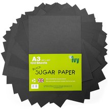 Sugar Paper A3 - Black Pages - 100 x Sheets - 100gsm - 21004 - Made in t... - ₹923.77 INR
