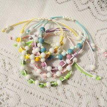 Chinese Knot Bracelet with Porcelain Beads, White Green Blue Pink Yellow... - $19.00