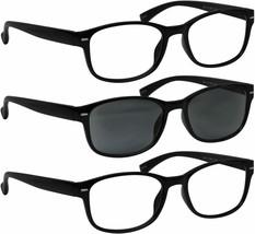 TRUVISION Reading Glasses - HP9505 - VP3- 2 Black and 1 Sun Black +3.00 - $17.95