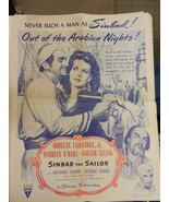 """Sinbad The Sailor Movie Poster Reprint from the late 50s-60s 24.5"""" x 18.5"""" - $22.28"""