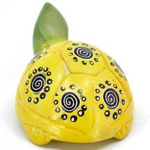 Hard Carved Kisii Soapstone Yellow & Green Turtle Figurine Made in Kenya image 3