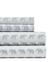 Tommy Hilfiger Elephant Print Queen Sheet Set Gray Blue White Stripe - $79.95