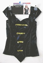 Cosplay Corset Top Black One Piece Gold Buttons Small 4-6 Womens Hallowe... - $11.78