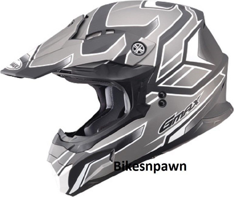 New Silver/Black 3XL Adult GMax MX86 Offroad Helmet DOT & ECE 22.05 Approved