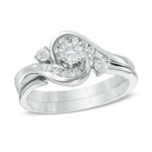 0.25CT D/VVS1 Diamond Frame Bypass Bridal Set in 14K White Gold Plated - £85.05 GBP
