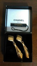 Authentic CHANEL Vintage Gold Logo Clip on Earrings CC Drop HCE062 - $658.35