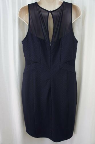 Guess Los Angeles Dress Sz 12 Midnight Blue Sheer Sleeveless Cocktail Party  image 7